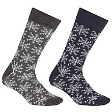 Buy John Lewis Christmas Snowflake Socks, Pack of 2, Navy/Grey Online at johnlewis.com