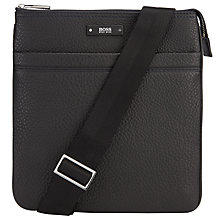 Buy BOSS Traveller Grained Leather Flight Bag, Black Online at johnlewis.com