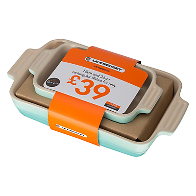 Le Creuset 2-piece Rectangular Dishs, Cool Mint