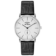 Buy Rotary GS90050/02 Men's Les Originales Kensington Leather Strap Watch, Black/White Online at johnlewis.com