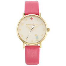 Buy kate spade new york 1YRU0834 Women's Novelty Happy Hour Metro Leather Strap Watch, Flamingo Pink/White Online at johnlewis.com