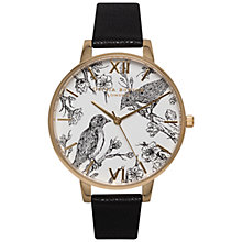 Buy Olivia Burton OB15AM65 Women's Animal Motifs Birds Leather Strap Watch, Black/White Online at johnlewis.com