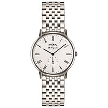 Buy Rotary GB90050/01 Men's Les Originales Kensington Bracelet Strap Watch, Silver/White Online at johnlewis.com