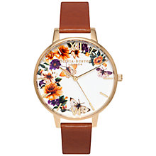 Buy Olivia Burton OB15FS69 Women's Enchanted Garden Leather Strap Watch, Tan/Floral Online at johnlewis.com