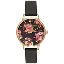 Buy Olivia Burton OB15RB06 Women's Winter Garden Leather Strap Watch, Black/Floral Online at johnlewis.com
