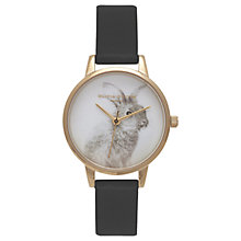 Buy Olivia Burton OB15WL57 Women's Woodland Bunny Faux Leather Strap Watch, Black/White Online at johnlewis.com