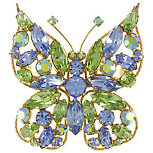 Buy Eclectica Vintage 1950s Regency Austrian Crystal Butterfly Brooch, Blue/Green Online at johnlewis.com