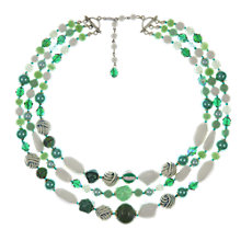Buy Eclectica Vintage 1950s 3 Strand Milk Glass Necklace, Green/White Online at johnlewis.com