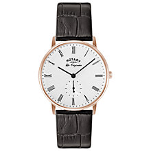Buy Rotary GS90053/01 Men's Les Originales Kensington Leather Strap Watch, Brown/White Online at johnlewis.com