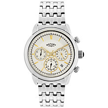 Buy Rotary GB02876/02 Men's Monaco Chronograph Bracelet Strap Watch, Silver/White Online at johnlewis.com