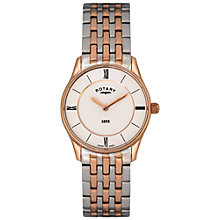 Buy Rotary LB08202/01 Women's Ultra Slim Two Tone Bracelet Strap Watch, Rose Gold/Silver Online at johnlewis.com