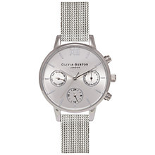 Buy Olivia Burton OB15CGM61 Women's Chrono Detail Midi Dial Chronograph Mesh Bracelet Strap Watch, Silver Online at johnlewis.com
