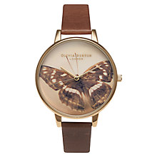 Buy Olivia Burton OB13WL11 Women's Woodland Butterfly Leather Strap Watch, Brown/Cream Online at johnlewis.com
