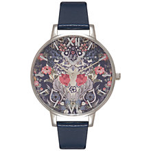 Buy Olivia Burton OB15EG32 Women's Enchanted Garden Leather Strap Watch, Navy/Floral Online at johnlewis.com