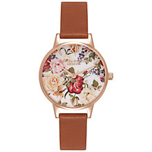 Buy Olivia Burton OB15EG35 Women's Enchanted Garden Leather Strap Watch, Tan/Multi Online at johnlewis.com