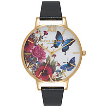 Buy Olivia Burton OB15EG33 Women's Enchanted Garden Leather Strap Watch, Black/Floral Online at johnlewis.com