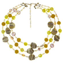 Buy Eclectica Vintage 1960s 3 Row Bead Necklace, Yellow/Brown Online at johnlewis.com