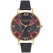Buy Olivia Burton OB15EG34 Women's Enchanted Garden Leather Strap Watch, Black/Multi Online at johnlewis.com