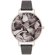 Buy Olivia Burton OB15WL55 Women's Woodland Butterflies Leather Strap Watch, Black/Multi Online at johnlewis.com