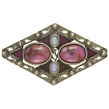 Buy Eclectica Vintage 1960s Miracle Marbled Stone Brooch, Pink/Silver Online at johnlewis.com
