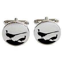 Buy TYLER & TYLER Pheasant Round Cufflinks, Black Online at johnlewis.com