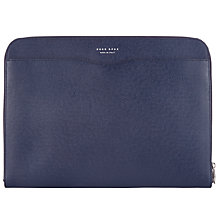 Buy BOSS Signature Textured Leather Portfolio Tablet Sleeve, Navy Online at johnlewis.com