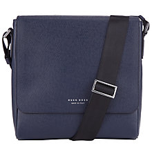 Buy BOSS Signature Textured Leather Reporter Bag, Dark Blue Online at johnlewis.com