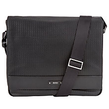 Buy BOSS Traveller Leather Messenger Bag, Black Online at johnlewis.com