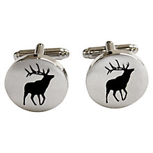 Buy TYLER & TYLER Stag Round Cufflinks, White/Black Online at johnlewis.com
