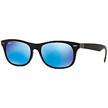 Buy Rayban RB4223 Folding Square Sunglasses, Black/Mirror Blue Online at johnlewis.com
