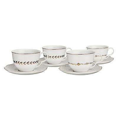 John Lewis Garden Party Cup & Saucer, Set of 4
