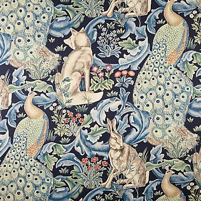 Image of Morris & Co Forest Furnishing Fabric, Indigo