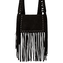 Buy Mango Small Suede Bag, Black Online at johnlewis.com