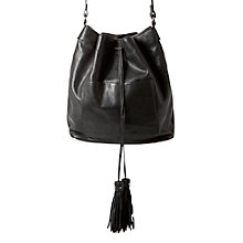 Buy Mango Leather Bucket Bag, Black Online at johnlewis.com