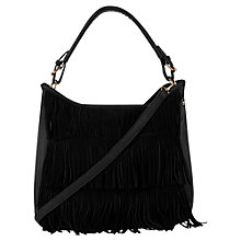 Buy Oasis Henne Fringed Hobo Handbag, Black Online at johnlewis.com