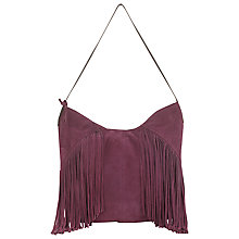 Buy East Leather Fringed Hobo Bag, Red Online at johnlewis.com