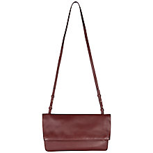 Buy Jaeger Julianne Leather Foldover Bag, Wine Online at johnlewis.com