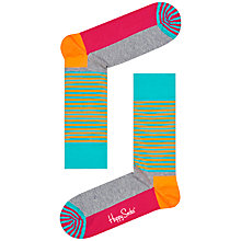 Buy Happy Socks Half Stripe Socks, One Size, Orange Online at johnlewis.com