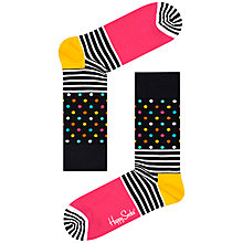 Buy Happy Socks Stripe Dot Socks, One Size, Black/Multi Online at johnlewis.com