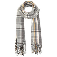 Buy Miss Selfridge Check Fringe Scarf, Grey Online at johnlewis.com