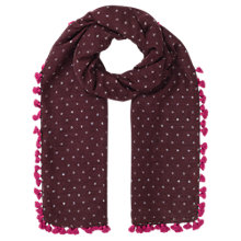 Buy Jigsaw Pom Pom Spot Print Scarf Online at johnlewis.com
