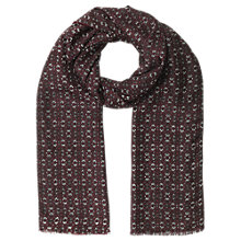 Buy Jigsaw Wool Silk Indian Floral Scarf, Cranberry Online at johnlewis.com