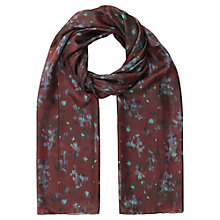 Buy Jigsaw Silk Smudge Bloom Scarf, Cranberry Online at johnlewis.com