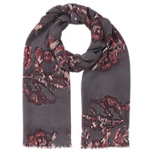 Buy Jigsaw Rose Print Scarf, Cranberry Online at johnlewis.com