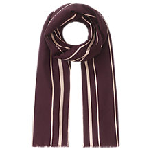 Buy Jigsaw Silk Wool Blend Foulard Stripe Scarf, Cranberry Online at johnlewis.com
