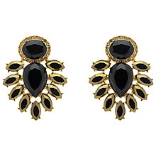 Buy Monet Crystal Clip-On Earrings, Gold/Black Online at johnlewis.com
