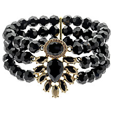 Buy Monet Triple Strand Crystal Faceted Stretch Bracelet, Gold/Black Online at johnlewis.com