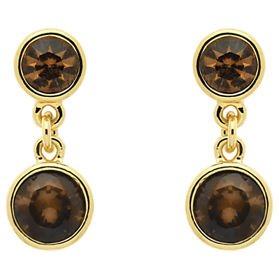 Monet Crystal Drop Earrings, Gold Topaz