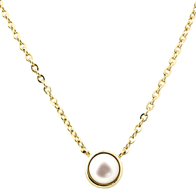 A B Davis Gold Plated Pearl Pendant Necklace, Gold