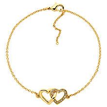 Buy Melissa Odabash Gold Plated Swarovski Crystal Double Heart Bracelet, Gold Online at johnlewis.com